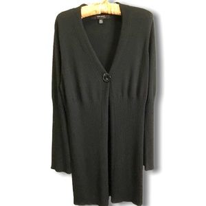 COUPE COLLECTION Black Rib Knit 1 Button Cardigan